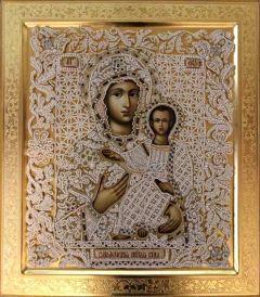 Рукописная Смоленская икона с жемчужным окладом (Размер 38*43 см)