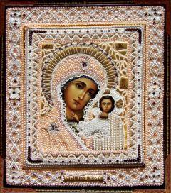 Рукописная Казанская икона с жемчужным окладом
