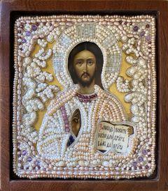 Рукописная икона Спас Вседержитель с жемчужным окладом 2
