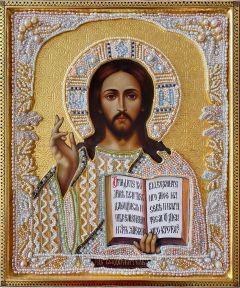 Рукописная икона Спас Вседержитель с жемчужным окладом 3 (Размер 25*31 см)
