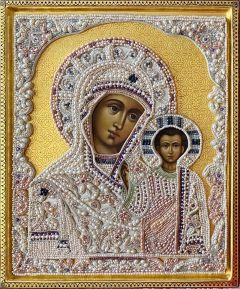 Рукописная Казанская икона с жемчужным окладом 3 (Размер 25*31 см)