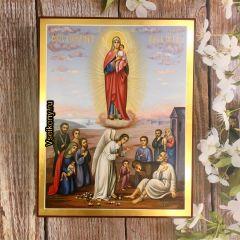 Рукописная икона Всех Скорбящих Радость 9 (Размер 22*28 см)