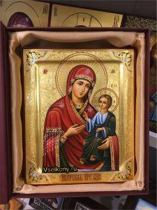 Рукописная икона Иверская с резьбой 17