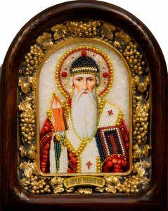 Икона из бисера Спиридон Тримифунтский 3