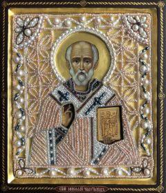 Рукописная икона Николай Чудотворец с жемчужным окладом (Размер 19*22 см)