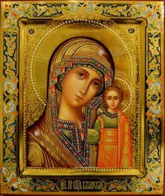 Рукописная икона Казанская с резьбой 75 (Размер 21*25 см)