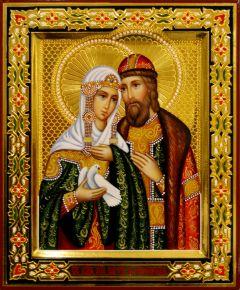 Рукописная икона Петр и Феврония с резьбой 126 (Размер 17*21 см)
