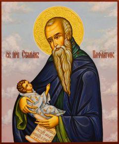 Рукописная икона Стилиан Пафлагонский 5 (Размер 17.5*21 см)