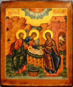 Рукописная икона Рождество Христово на доске 18 века (Размер 25*29 см)