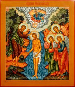 Рукописная икона Крещение Господне 5 (Размер 27*31 см)