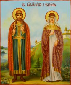 Рукописная икона Петр и Феврония масло 129 (Размер 17*21 см)