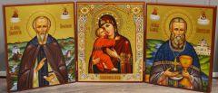 Рукописный триптих с Владимирской иконой