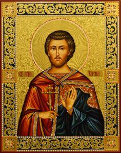 Рукописная икона Евгений мученик с резьбой