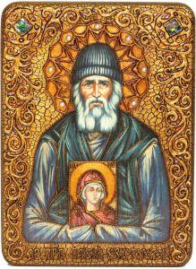 Икона ручной работы Паисий Святогорец с камнями