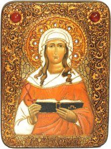 Икона ручной работы Валентина Кесарийская с камнями