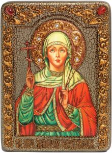 Икона ручной работы Виктория Кордувийская с камнями