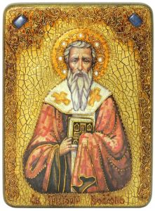 Икона ручной работы Григорий Богослов с камнями
