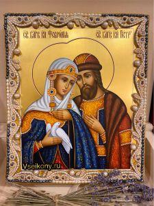 Рукописная икона Петр и Феврония с жемчужным окладом (Размер 21*25 см)
