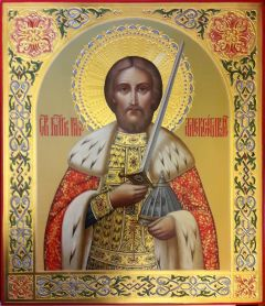 Рукописная икона Александр Невский 48