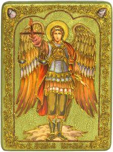 Икона ручной работы Архангел Иеремиил с камнями