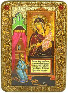 Икона ручной работы Нечаянная Радость с камнями