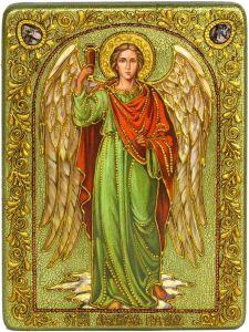 Икона ручной работа Архангел Рафаил с камнями