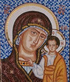 Казанская икона Божией Матери из стеклянной мозаики 3