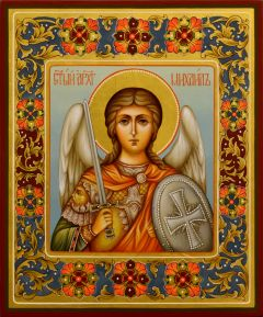 Рукописная икона Архангел Михаил 37 (Размер 21*25 см)