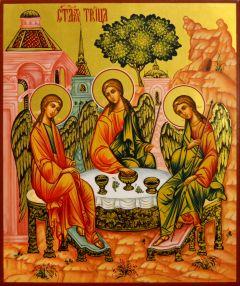 Рукописная икона Святая Троица 35 (Размер 21*25 см)
