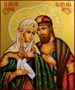 Рукописная икона Петр и Феврония на золоте 131 (Размер 17*21 см)