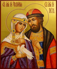 Рукописная икона Петр и Феврония 132 (Размер 17*21 см)