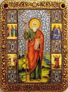 Икона ручной работы Андрей Первозванный с Житием и камнями