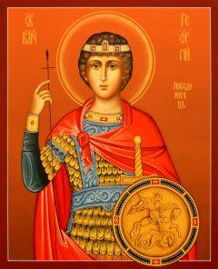 Рукописная икона Георгий Победоносец 35