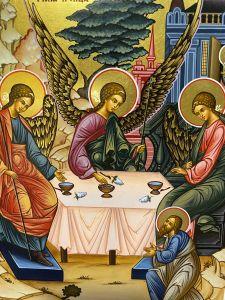 Рукописная икона Святая Троица 36 (Размер 17*21 см)