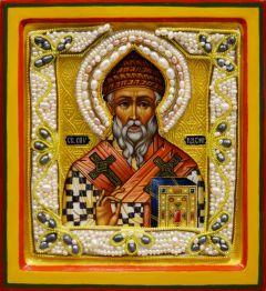 Рукописная икона Спиридон Тримифунтский с жемчужным окладом (Размер 13*14 см)