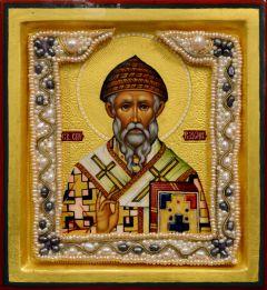 Рукописная икона Спиридон Тримифунтский с жемчужным окладом 2 (Размер 13*14 см)