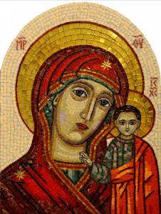 Казанская икона Божией Матери из стеклянной мозаики 4