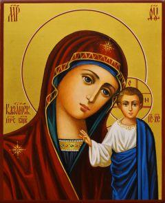 Рукописная Казанская икона на золоте 77 (Размер 13*16 см)
