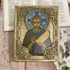 Рукописная икона Сергий Радонежский с окладом 35 (Размер 18*22 см)