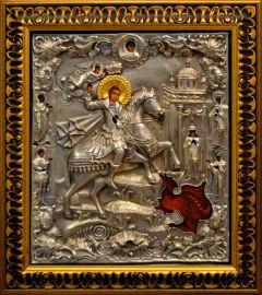 Рукописная икона Чудо Георгия о змие с окладом 43 (Размер 28*33 см)