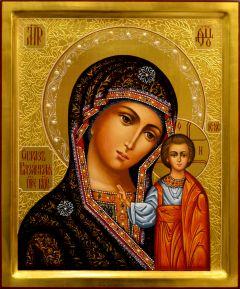 Рукописная Казанская икона с резьбой и жемчугом 80 (Размер 21*25 см)