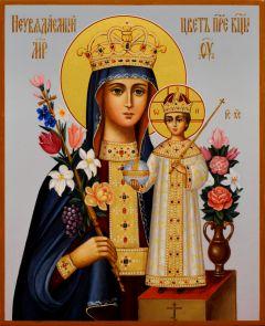 Рукописная икона Неувядаемый Цвет 51 (Размер 13*16 см)