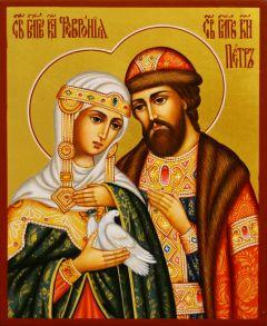 Рукописная икона Петр и Феврония 138 (Размер 13*16 см)