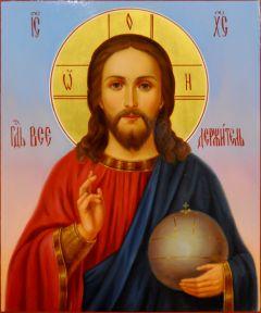Рукописная икона Спас Вседержитель масло 87 (Размер 17*21 см)