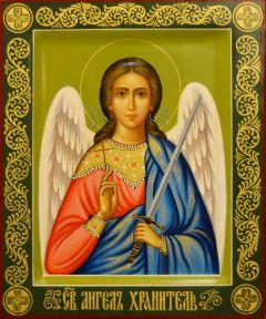 Рукописная икона Ангел Хранитель 140 (Размер 17*21 см)