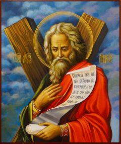 Рукописная икона Андрей Первозванный 30 (Размер 21*25 см)