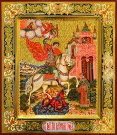 Рукописная икона Чудо Георгия о змие 40 (Размер 27*31 см)