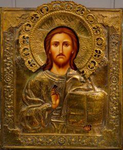 Рукописная икона Спас Вседержитель в окладе 19 века (Размер 35*40 см)