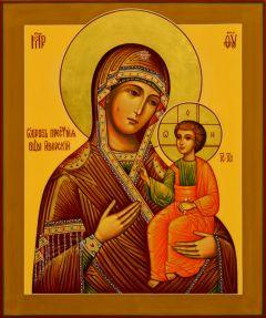 Рукописная икона Иверская 6 (Размер 17*21 см)