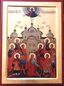 Рукописная икона Девять мучеников Кизических